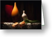 Pottery Photo Greeting Cards - Still Life with Vases and Tulips Greeting Card by Tom Mc Nemar