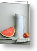 Watermelon Pyrography Greeting Cards - Still Life with Watermelon Greeting Card by Krasimir Tolev