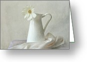 Indoors Photo Greeting Cards - Still Life With White Flower Greeting Card by by MargoLuc