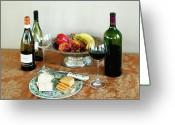 Wine For Two Greeting Cards - STILL LIFE WITH WINE AND FRUIT cheese picture interior design decor Greeting Card by John Samsen