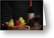 Pear Pyrography Greeting Cards - Still Life with Wine Bottle Greeting Card by Krasimir Tolev