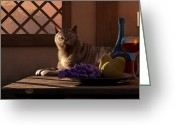 Cabernet Sauvignon Greeting Cards - Still Life with Wine Fruit and Cat  Greeting Card by Daniel Eskridge