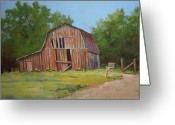 Old Barn Pastels Greeting Cards - Still Standing Greeting Card by Paula Ann Ford