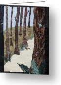 Textile Art Tapestries - Textiles Greeting Cards - Stillness Greeting Card by Patty Caldwell