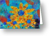 Vibrant Colors Greeting Cards - Stimuli Floral s01 Greeting Card by Variance Collections