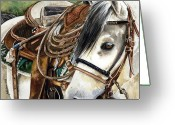 Western Painting Greeting Cards - Stirrup Up Greeting Card by Nadi Spencer