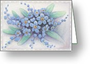 Karma Greeting Cards - Stitched Forget-Me-Nots Greeting Card by Amy S Turner