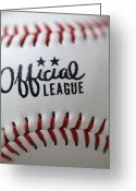 Baseball Print Greeting Cards - Stitched Greeting Card by Ricky Barnard