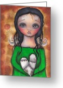 Outsider Art Drawings Greeting Cards - Stitched up Love Greeting Card by  Abril Andrade Griffith