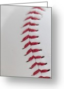 Curve Ball Greeting Cards - Stitches Greeting Card by Malania Hammer