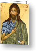Byzantine Greeting Cards - St.John The Baptist Greeting Card by George Siaba