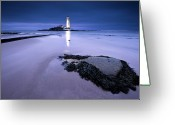 Guidance Greeting Cards - St.marys Lighthouse, Blue Hour Greeting Card by K.Arran - photomuso