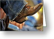 Western Clothing Greeting Cards - Stock Show Boots I Greeting Card by Joan Carroll