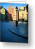 Colours Greeting Cards - Stockholm Stortorget Square Greeting Card by Inge Johnsson
