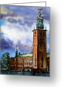 Sketchbook Greeting Cards - Stockholm Sweden Greeting Card by Irina Sztukowski