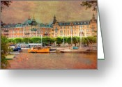 Skylines Photo Greeting Cards - Stockholm Sweden Greeting Card by Mark Richards