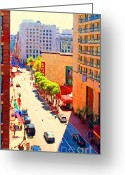 Long Street Greeting Cards - Stockton Street San Francisco . View Towards Union Square Greeting Card by Wingsdomain Art and Photography