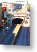 Cityscape Digital Art Greeting Cards - Stockton Street Tunnel in Heavy Shadow . Long Version Greeting Card by Wingsdomain Art and Photography