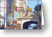 Tunnels Greeting Cards - Stockton Street Tunnel in San Francisco . 7D7355 Greeting Card by Wingsdomain Art and Photography