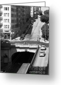 Hill Photographs Greeting Cards - Stockton Street Tunnel Midday Late Summer in San Francisco . Black and White Photograph 7D7499 Greeting Card by Wingsdomain Art and Photography