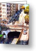 Tunnels Greeting Cards - Stockton Street Tunnel San Francisco . 7D7499 Greeting Card by Wingsdomain Art and Photography