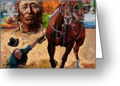 Cowboy Greeting Cards - Stolen Land Greeting Card by John Lautermilch