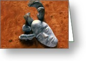 Orange Reliefs Greeting Cards - Stone Aged Spirit Greeting Card by Charles Dancik