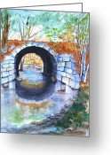 Carlin Greeting Cards - Stone Arch Bridge Dunstable Greeting Card by Carlin Blahnik