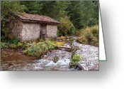River Banks Greeting Cards - Stone Building by River near Chame Greeting Card by Serena Bowles