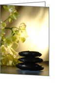 Meditation Greeting Cards - Stone Cairn and Orchids Greeting Card by Olivier Le Queinec