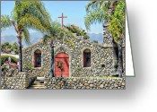 Religious Artist Digital Art Greeting Cards - Stone Chapel Greeting Card by Michelle Frizzell-Thompson