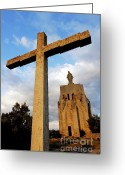 Religious Icon Greeting Cards - Stone crucifix Greeting Card by Sami Sarkis