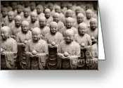 Buddhist Temple Greeting Cards - Stone Figures of Jizo Greeting Card by Eena Bo