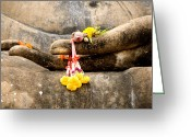 Buddha Digital Art Greeting Cards - Stone Hand Of Buddha Greeting Card by Adrian Evans