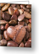 Heart-shape Greeting Cards - Stone heart Greeting Card by Garry Gay