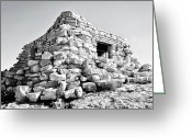 Sandias Greeting Cards - Stone house. Greeting Card by Chelsey Beck