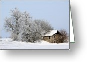 Old Cabins Greeting Cards - Stone House in Winter Greeting Card by Gary Gunderson