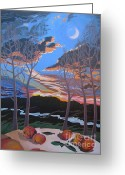 Ski Art Painting Greeting Cards - Stone House Supper Club Trees Greeting Card by Vanessa Hadady BFA MA