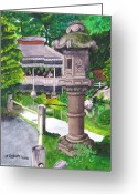 Golden Gate Painting Greeting Cards - Stone Lantern Greeting Card by Mike Robles