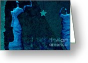 Light Aqua Greeting Cards - Stone Men 30-33 c02c - Les Femmes Greeting Card by Variance Collections