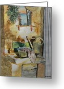 Drain Painting Greeting Cards - Stone Sink Greeting Card by Patrick DuMouchel