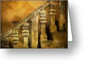 Banister Greeting Cards - Stone stairs and balustrade. Greeting Card by Bernard Jaubert