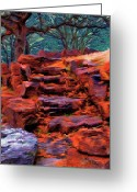 Autumn Greeting Cards - Stone Steps in Autumn Greeting Card by Jeff Kolker