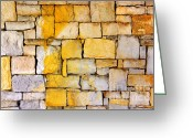 Rusted Greeting Cards - Stone Wall Greeting Card by Carlos Caetano