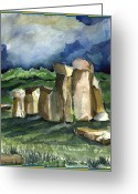 Dawn Drawings Greeting Cards - Stonehenge in the Light Greeting Card by Mindy Newman