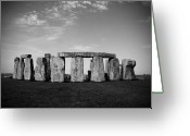 Sacrifice Greeting Cards - Stonehenge On a Clear Blue Day BW Greeting Card by Kamil Swiatek