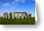 Sacrificial Greeting Cards - Stonehenge On a Clear Blue Day Greeting Card by Kamil Swiatek
