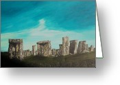 Stone Pastels Greeting Cards - Stonehenge Greeting Card by Tracey Mitchell