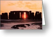 Solstice Greeting Cards - Stonehenge Winter Solstice Greeting Card by English School 