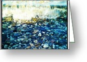 Background Greeting Cards - #stones #blue #water #wave #background Greeting Card by Cristina Sferra